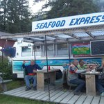 Eating at Seafood Express in Hyder where Robin Williams ate