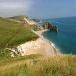 View from Coastal path looking back toward Durdle door and Lulworth