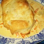 Salmon in a pastry shell with shrimp sauce