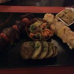 beef & chicken kebobs, a fairly large portion