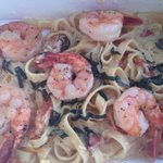 fettucini with champagne...and shrimp