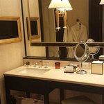 Bathroom -bathrobes seen in mirror