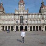 The beautiful Plaza de María Pita and the monumental City Hall of La Coruña