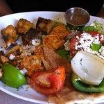 Mahi Mahi and Shrimp Skewer, Salad, Grilled Veggies, Pita