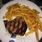 Filet Mignon with fries. It was so tender, it started falling apart when I was cutting it!