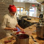 Making strawberry pie on premises