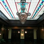 Custom Glass Chandeliers in the Lobby and 2nd floor Library area
