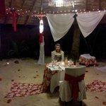 Romantic beach front dinner at The Rarotongan