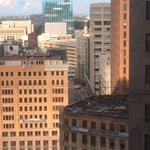 View from my room of downtown and an abandoned building
