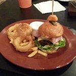 Tasty burgers; beef or pork.