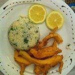 Choco frito com um arroz divinal