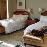 房間坪數約20坪,有二張單人床,和一張書桌,視覺空間上很舒服