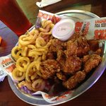 General TSO Sauced Boneless Wings & Curly Fries