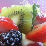 Ciabatta de hojaldre y crema pastelera con fruta