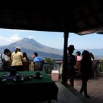 Outdoor dining overlooking the volcano available.
