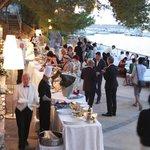 Wedding reception evening. The Aperitivos before dinner on terrace.