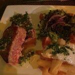 Seared tuna steak with fried yucca wedges