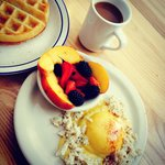 Eggs Benedict with crab meat + Belgian Waffle with seasonal fruits + Coffee