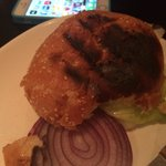 Burnt cheap bun to go with tough burger. Not the best