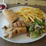 Lamb shawarma meal at lunch time