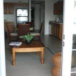 Looking inside condo from back door