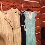 Our dresses-- picked to show you the amazing walls of the cabin