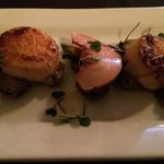 Beautiful seared scallops w pork belly, braised brussells sprouts and Parker county peaches. Wow