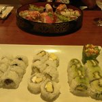 3 vegetarian sushi rolls and Mr. Roboto platter