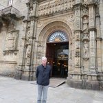 "At the main door of the ""Parador Hostal dos Reis Católicos"" in Santiago de Compostela"