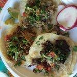 Sirloin, pork, spicy pork tacos