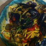 Lots of mussels and clams with pasta!