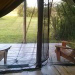 Deck outside the tents. So relaxing! Oh mosquito net is great also!