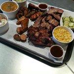 Brisket, ribs, sausage, torpedoes, beans, mac, coleslaw