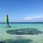 Taking the Hobie Cat out at Coco Plum Caye