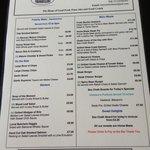The menu at The Lock Inn