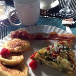 Lemon Ricotta pancakes with Spinach, tomato & feta frittata :)