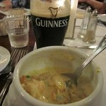 Seafood chowder with a pint of Guinness