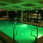Indoor portion of the indoor/outdoor combo pool. Underwater lighting changes every minute.