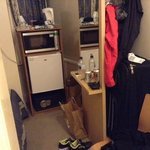 "tiny dirty room! and that's the ""fully equipped kitchenette"""