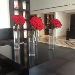 Daily fresh roses in reception..