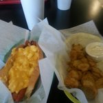 Mac n Cheese with Bacon dog n fried pickles