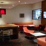 The lobby and bar area
