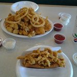 Fried Seafood platter for 2, clam strip roll