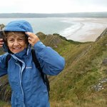 Pam on Cliffs at Oxwich Bay
