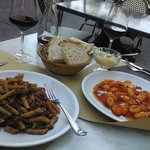 Penne with chiantigiarde sauce on the left. Gnochi on the right.