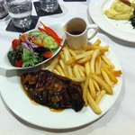 Sirloin steak meal from the restaurant