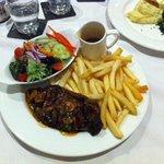Sirloin steak meal from the restaurant