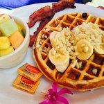 Waffle Aloha Style w Mac Nut, Banana and Coconut Syrup