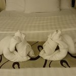 Cute creative with towels by house keeper of the hotel