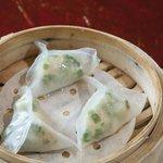 Steamed Shrimp Dumpling with chive leaf